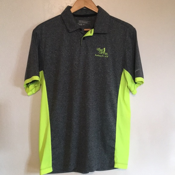 Nike Shirts Drifit Golf Polo In Gray And Highvis Yellow